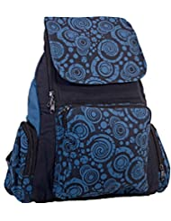 Black and Blue Circle Swirl Retro Unisex Hippie School Backpack