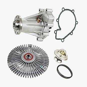 Water Pump + Fan Clutch + Thermostat Kit for Mercedes-Benz W210 E300 Diesel Premium 6052000820/6062000122/6022000015 (3pcs)