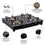 Lifelong Glass Top Gas Stove, 4 Burner Gas Stove, Black (ISI Certified,1 year warranty with Doorstep Service)