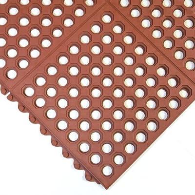 "Rubber-Cal 03_126_INT_WRD Dura-Chef Interlock Anti-Fatigue Rubber Floor Matting, 5/8"" x 36"" x 36"", Red"