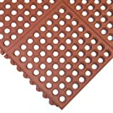 Rubber-Cal ''Dura-Chef Interlock'' Kitchen Comfort Mats - 5/8-inch x 3ft x 3ft - Red Rubber Floor Mat - 2 Pack