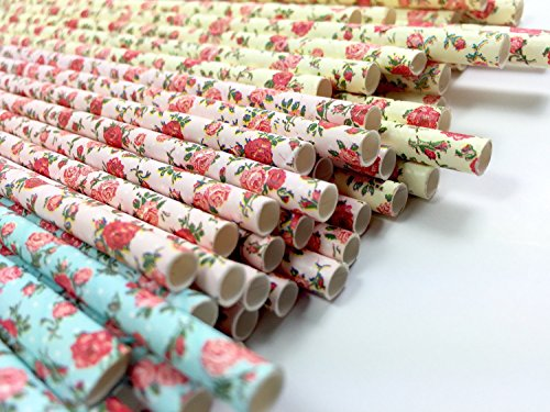 Floral Paper Straws (85 Pack) - 100% Biodegradable, Excellent Quality, Trendy & Beautiful Paper Straws for All Occasions! (Jumbo (Jumbo White Bunny Kit)