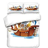 iPrint Duvet Cover Set,Religious,Illustration of Many Animals Sailing in the Boat Mythical Journey Faith Giraffe,Multicolor,Best Bedding Gifts for Family Or Friends