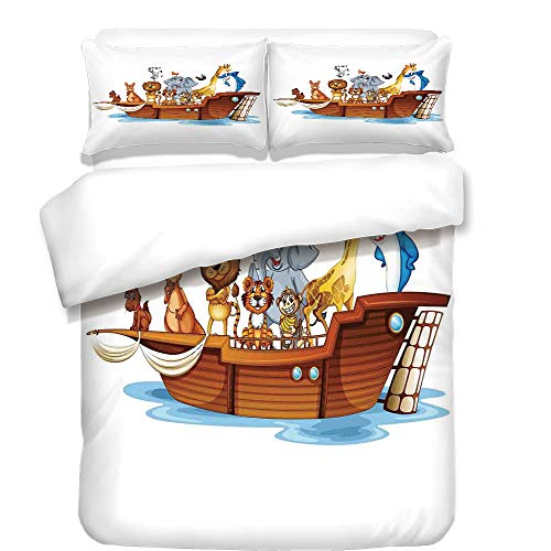 iPrint Duvet Cover Set,Religious,Illustration of Many Animals Sailing in the Boat Mythical Journey Faith Giraffe,Multicolor,Best Bedding Gifts for Family Or Friends by iPrint