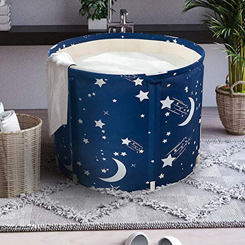 LUCKUP Portable Bathtub, Foldable Free Standing Soaking Bath Tub Easy to Install, Eco-Friendly Bathtub Bathroom Spa,Thickening with Thermal Foam to Keep Temperature,Blue]()
