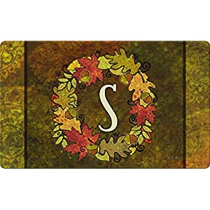 Toland Home Garden Fall Wreath Monogram S 18 x 30 Inch Decorative Autumn Floor Mat Colorful Leaves Doormat 103