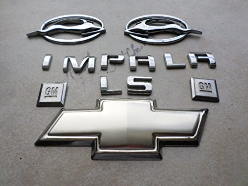 (08 Chevy Impala Ls Side Fender Right 10424490 Left 10424491 Leaping Chrome Deer Logo Letters Emblem Set of 7 Decals)