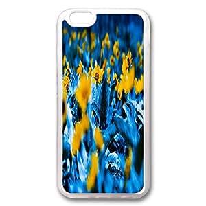 Custom Iphone 6 Plus Case,Blue color chrysanthemum as Transparent Iphone 6 Plus Cases