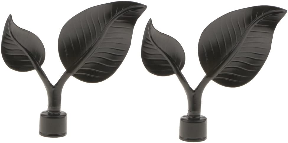 Gazechimp Paar 22mm Endknopf f/ür Vorhangstange Gardine Vorhang Stange Blatt Design # 3
