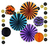 NICROLANDEE Halloween Orange and Black Party Decoration Round Hanging Paper Fan Tissue Paper Flowers Honeycomb Ball Dots Garland Banner for Home Fall Harvest Thanksgiving Backdrop Decor