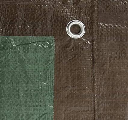 6 x 8 6/' x 8/' Erickson 57030 Reversible Brown//Green Mid-Grade Poly Tarp