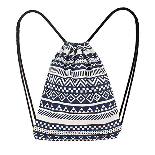 Women Student Bag by Wind Ethnic Canvas Blue NEWONESUN Pocket Bag Drawstring Backpack Ow0Uq5nAq