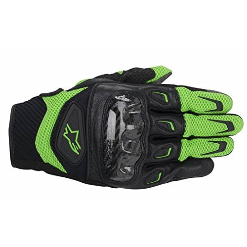 NEW ALPINESTARS SMX-2 AIR CARBON ADULT LEATHER GLOVES, GREEN/BLACK, SMALL/SM