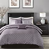 Light Purple Duvet Cover Queen Madison Park Biloxi Duvet Cover Full/Queen Size - Purple, Geometric Duvet Cover Set – 6 Piece – Ultra Soft Microfiber Light Weight Bed Comforter Covers