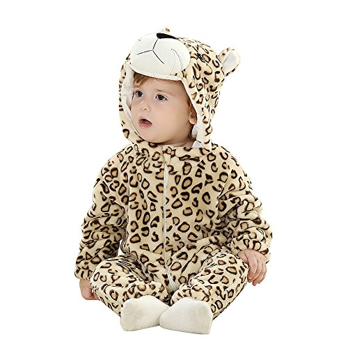 [Eden Babe Unisex-baby Winter Flannel Romper Panda Onesie Outfits Suit] (Dear Animal Costume)