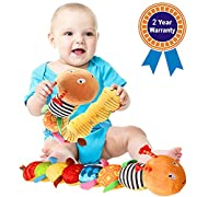 Musical Baby Toy, FIOLOM Soft Colorful Caterpillar Infant Toy Interactive Worm Toy Developmental Educational Plush Stuffed Toy with Squeaky Bell Ruler Design Crinkle for Kids, Newborn, Boys and Girls