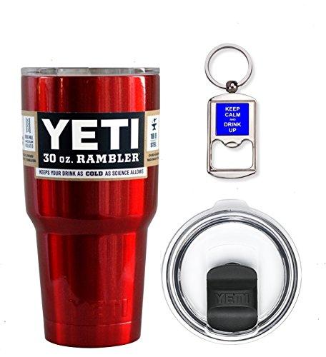 YETI Coolers 30 Ounce (30oz) (30 oz) Custom Rambler Tumbler Cup Mug Bundle with New Magslider Lid (Chrome Red Shimmer)