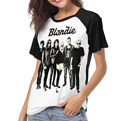 (Blondie Women's Short Sleeve Baseball T-Shirts Raglan Top M Black)