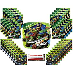 Teenage-Mutant-Ninja-Turtles Party Supplies Bundle Pack for 16 (Bonus 18 Inch Balloon Plus Party Planning Checklist by Mikes Super Store)