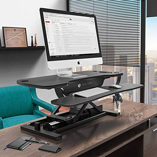 VersaDesk Power Pro – 40 Electric Height-Adjustable Desk Riser – Sit to Stand Desktop with Keyboard and Mouse Tray – Black