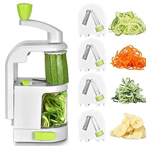 Spiralizer Vegetable Slicer, Smile mom 4 Blades Vegetable Spiralizer, Heavy Duty Veggie Spiralizer with Strong Suction Cup, Maker for Healthy Low Carb, Paleo, Gluten-Free Meals with Free Clean Brush