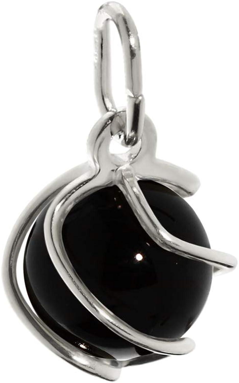 Pendentif boule de NKlaus Sphere en argent 925 onyx v/éritable noir 7mm dames 7869