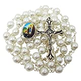 Talisman4U 8mm Glass Pearl Prayer Beads Catholic Rosary Necklace Our Lady of Fatima Center Cross Crucifix Rosary Pouch