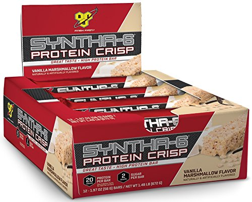 BSN Protein Crisp Bar by Syntha-6, Vanilla Marshmallow, 12 Count (Packaging may vary)