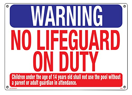 (Poolmaster Sign for Residential or Commercial Swimming Pools, Warning No Lifeguard)