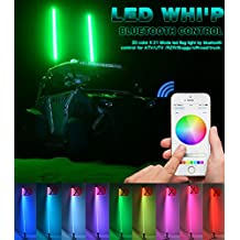 TheOne 20 Colors 21 Mode Antenna Flag ATV UTV Offroad LED Whip Flag Kit Smartphone App Controlled Bluetooth RGB 5FT/1.5M
