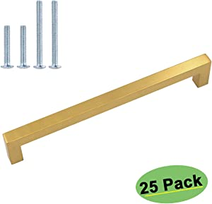homdiy (25 Pack) Modern Cabinet Pulls Bruhsed Brass Drawer Pulls - HDJ12GD Cabinet Door Handles Stainless Steel Square Bar Pulls Drawer Pulls for Drawers, 7-1/2in Hole Centers