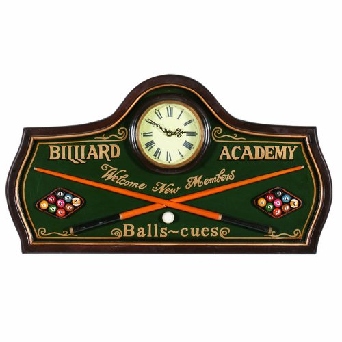 RAM Gameroom Products Pub Sign with Clock, Billiard Academy - Welcome New Members ()