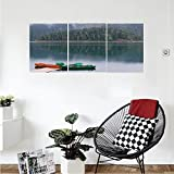 Liguo88 Custom canvas Lake House Decor Collection Forest and Lake Landscape with Canoes by the Pier in European Countryside Fall Photo Bedroom Living Room Wall Hanging Green Brown