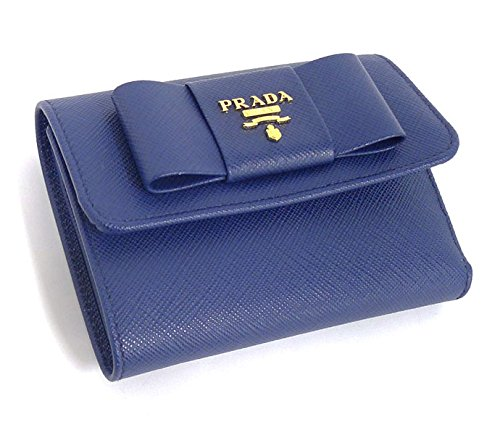 2e551fe386ca Amazon | PRADA プラダ 三つ折り財布 サフィアーノ フィオッコ リボンモチーフ 1MH840【中古】 | 財布