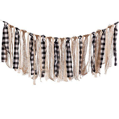 Ling's moment Buffalo Plaid Fabric Tassel Garland, Lace Burlap Rig Tie Banner, Fall / Thanksgiving Decorations, Rustic Wedding Garland, Shabby Chic Garland Rag Tie Banner, 4FT (Black+White+Khaki)