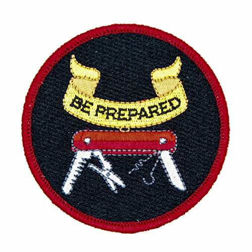 Be Prepared 100% Embroidered Outdoors Patch - Great for Kids and Outdoor Explorers - Hook Backed, Iron or Sew On (Hook Backed) ()