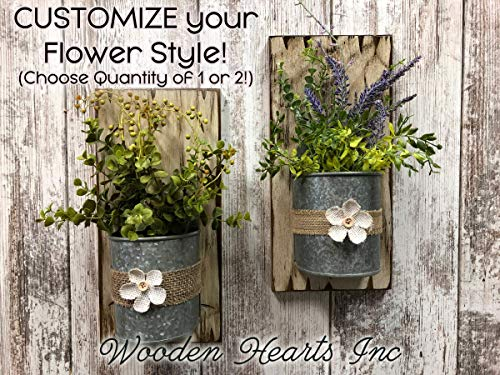 WALL PLANTER BUCKET Herb Garden Flower Pot Tin Pail SCONCE with Greenery and Burlap Flower *Reclaimed Country Rustic Distressed Unique Wood Decor - Antiqued White, Lavender, Eucalyptus, Lemon Grass