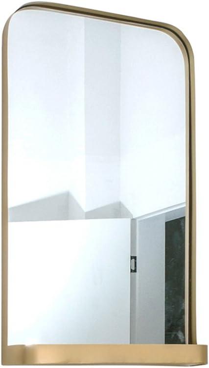 明るい鏡 ベッドルームドレッシングミラー、ウォールマウントバスルームアイアンアートメイクアップミラーゴールドストレージラックリビングルームサスペンションクリエイティブ装飾ミラー メイクアップとミラー (Size : 45*75CM)