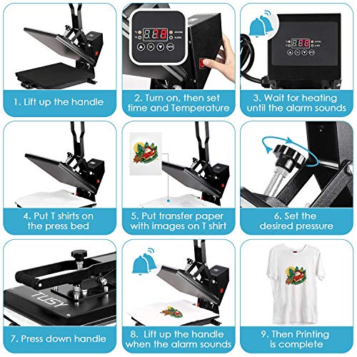 "Heat Press Machine - TUSY Digital Heat Transfer Sublimation 15"" x 15"", Industrial Quality T Shirt Printing Machine"