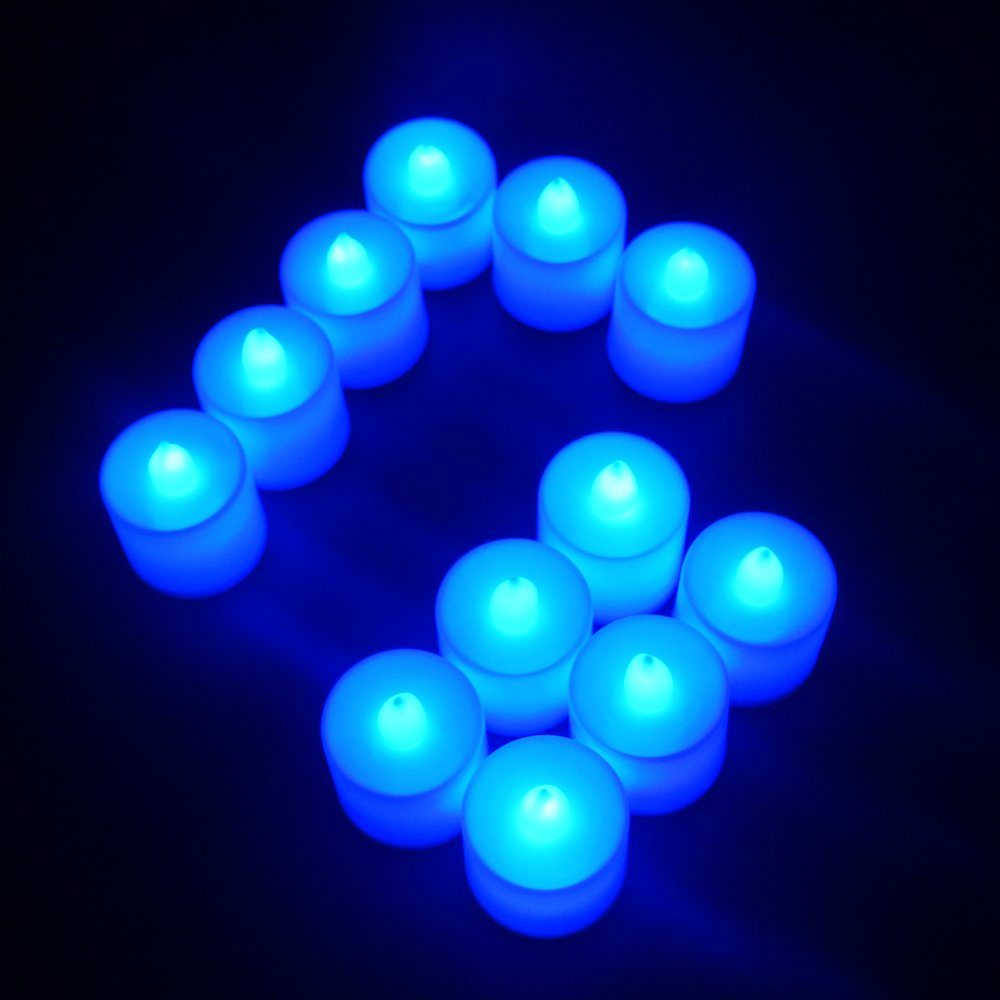 Flameless Candles,T-Trees LED Tea Light Candles With Battery-Powered Safety Electric Flickering Bulb Tealight Candles Decorations For Christmas Wedding Birthday Party Celebration (Blue 12pcs) by T-Trees (Image #7)