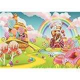 Daniu Sweet Cartoon Backdrops Lollipop Photo Props Rainbow Baby Photography Background Vinyl 7x5FT 210cm X 150cm Daniu-JP081