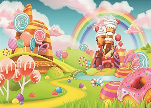Daniu Sweet Cartoon Background Lollipop Photo Props Rainbow Baby Photography Backdrops Vinyl 7x5FT 210cm X 150cm Daniu-JP081