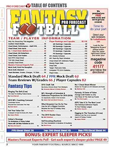 PRO FORECAST FANTASY FOOTBALL MAGAZINE 2019
