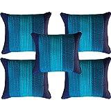 "India Furnish Dupion Silk 5 Piece Quilt Design Cushion Covers Set - 16""x 16"", Blue"