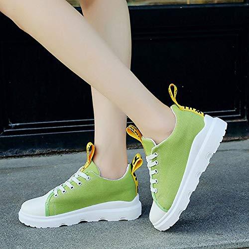 de PU Toe Mujer Negro Amarillo Sneakers Heel Poliuretano amp; Zapatos Spring Yellow Canvas Round Slogan Flat Comfort ZHZNVX Summer Verde 5IBwnqA1
