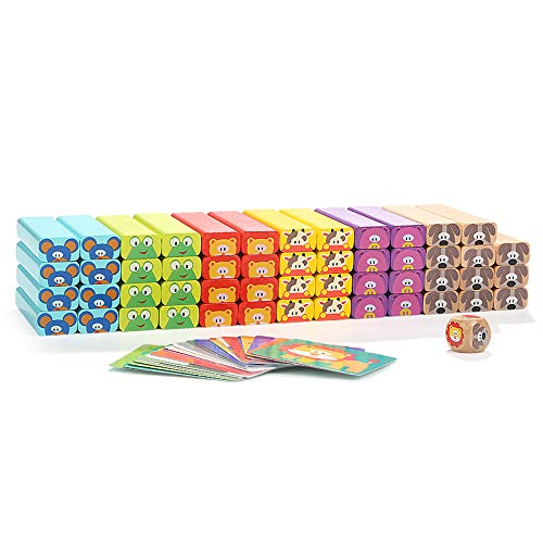 Tumbling Tower Toy with Card /& Dice Party Game for 4 Year Old Kids Boys Girls Colored WoodenStacking Blocks