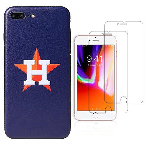 "- Sportula MLB Phone Case matching 2 Premium Screen Protectors Extra Value Set - for iPhone 7 Plus/iPhone 8 Plus (5.5"") (Houston Astros)"