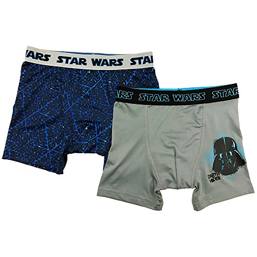 Boys 2 Pack Boxer Brief (Star Wars Big Boys' Darth Vader 2pk Athletic Boxer Briefs, Asst, 10)