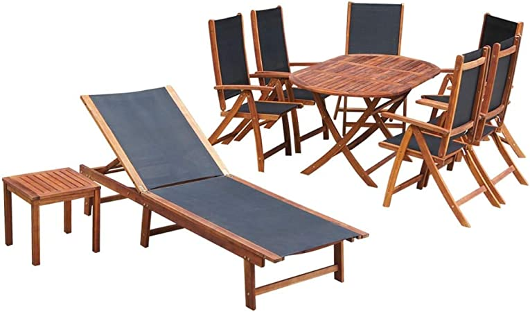 UnfadeMemory Conjunto de Comedor de Jardín Terraza Balcón o Patio,Mesa Ovalada+6 Sillas Plegables con 5 Posiciones+Tumbona,Muebles de Jardin Exterior,Madera Maciza de Acacia y Tela Textilene: Amazon.es: Hogar