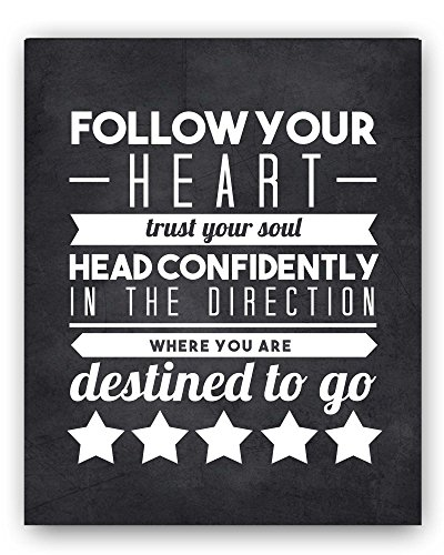 Graduation Gift Quote - Follow Your Heart Chalkboard Print (8x10